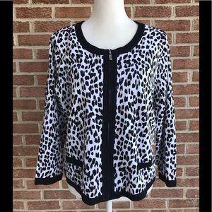 White House Black Market Leopard Print Cardigan XL
